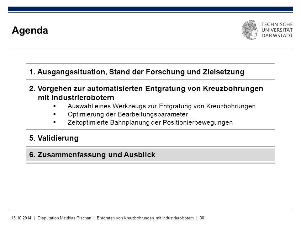 15.10.2014 | Disputation Matthias Pischan | Entgraten von Kreuzbohrungen mit Industrierobotern | 38 Agenda 1. Ausgangssituation, Stand der Forschung u