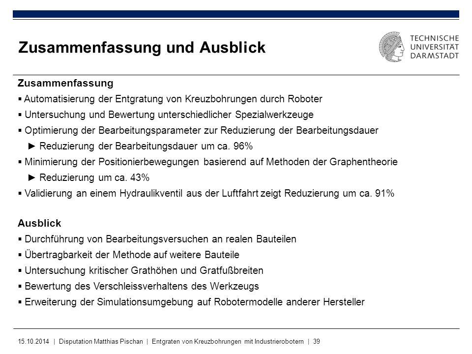 15.10.2014 | Disputation Matthias Pischan | Entgraten von Kreuzbohrungen mit Industrierobotern | 39 Zusammenfassung und Ausblick Zusammenfassung  Aut