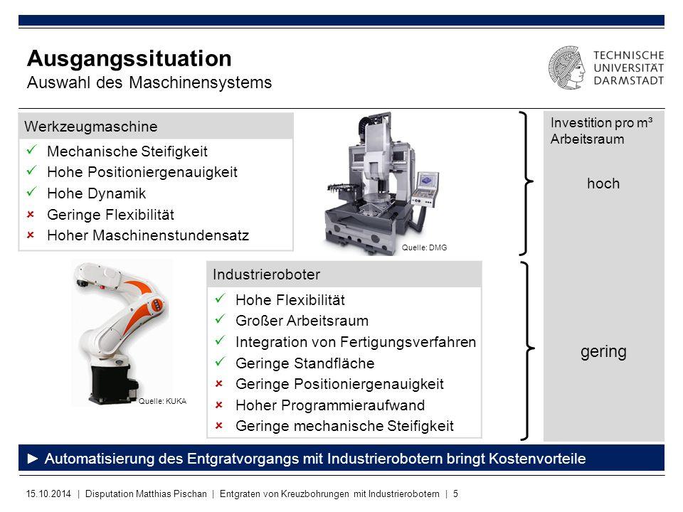 15.10.2014 | Disputation Matthias Pischan | Entgraten von Kreuzbohrungen mit Industrierobotern | 5 Werkzeugmaschine Mechanische Steifigkeit Hohe Posit