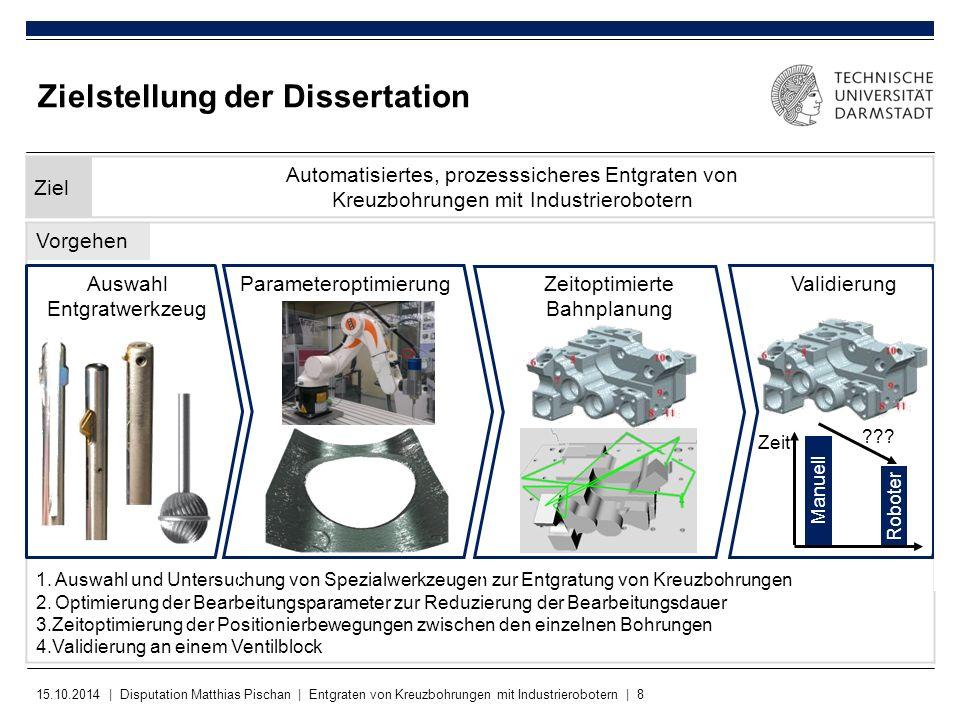 15.10.2014 | Disputation Matthias Pischan | Entgraten von Kreuzbohrungen mit Industrierobotern | 8 Vorgehen 1.Auswahl und Untersuchung von Spezialwerk