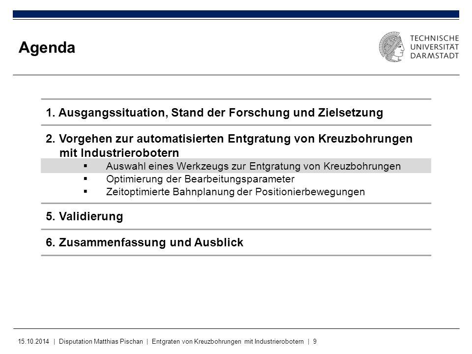 15.10.2014 | Disputation Matthias Pischan | Entgraten von Kreuzbohrungen mit Industrierobotern | 9 Agenda 1. Ausgangssituation, Stand der Forschung un