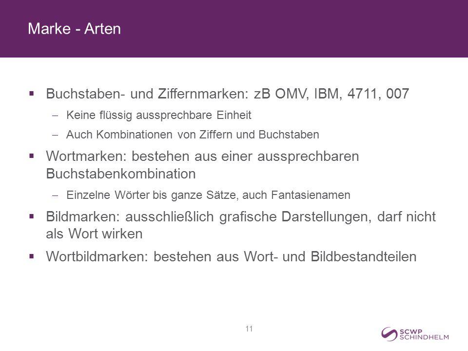 Marke - Arten  Buchstaben- und Ziffernmarken: zB OMV, IBM, 4711, 007  Keine flüssig aussprechbare Einheit  Auch Kombinationen von Ziffern und Buchs