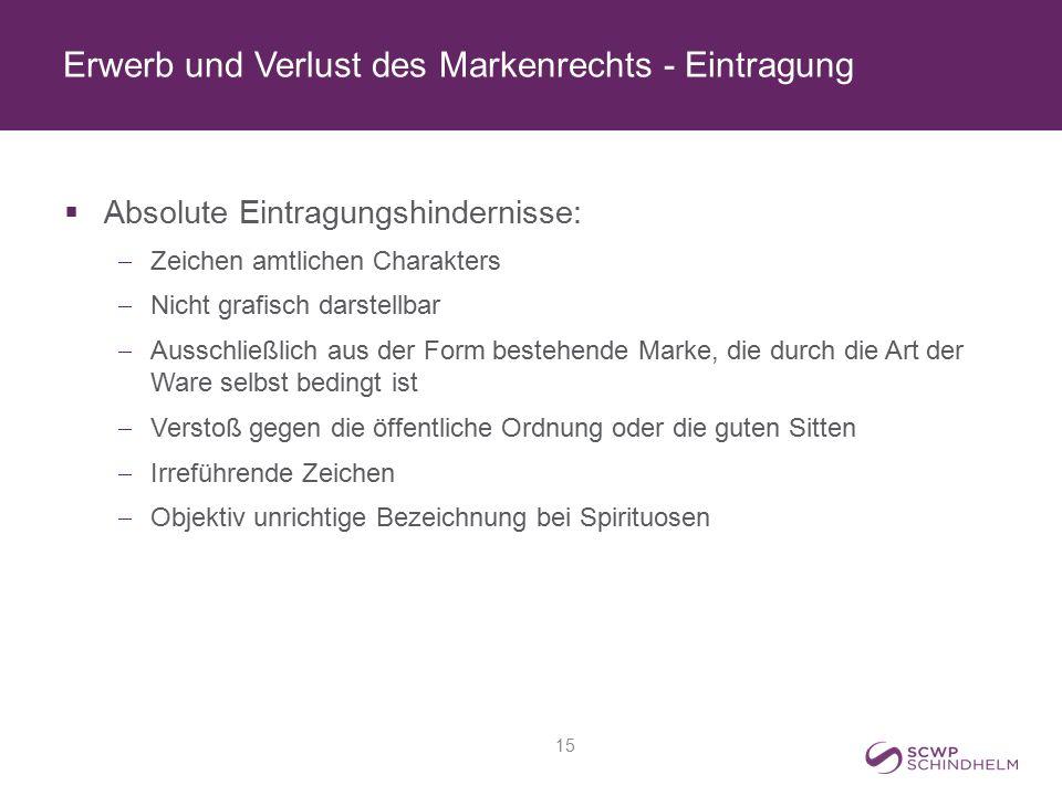Erwerb und Verlust des Markenrechts - Eintragung  Absolute Eintragungshindernisse:  Zeichen amtlichen Charakters  Nicht grafisch darstellbar  Auss