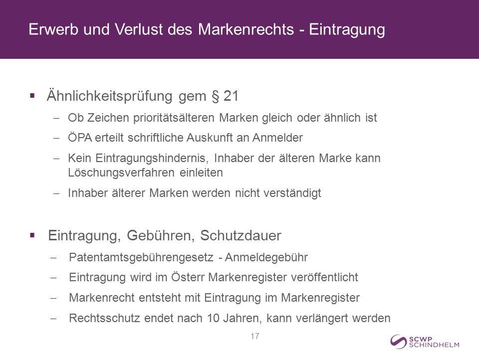 Erwerb und Verlust des Markenrechts - Eintragung  Ähnlichkeitsprüfung gem § 21  Ob Zeichen prioritätsälteren Marken gleich oder ähnlich ist  ÖPA er