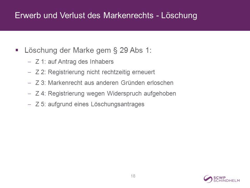 Erwerb und Verlust des Markenrechts - Löschung  Löschung der Marke gem § 29 Abs 1:  Z 1: auf Antrag des Inhabers  Z 2: Registrierung nicht rechtzei