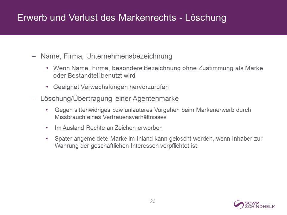 Erwerb und Verlust des Markenrechts - Löschung  Name, Firma, Unternehmensbezeichnung Wenn Name, Firma, besondere Bezeichnung ohne Zustimmung als Mark