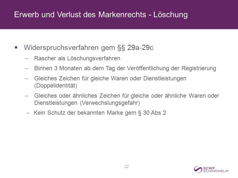 Erwerb und Verlust des Markenrechts - Löschung  Widerspruchsverfahren gem §§ 29a-29c  Rascher als Löschungsverfahren  Binnen 3 Monaten ab dem Tag d