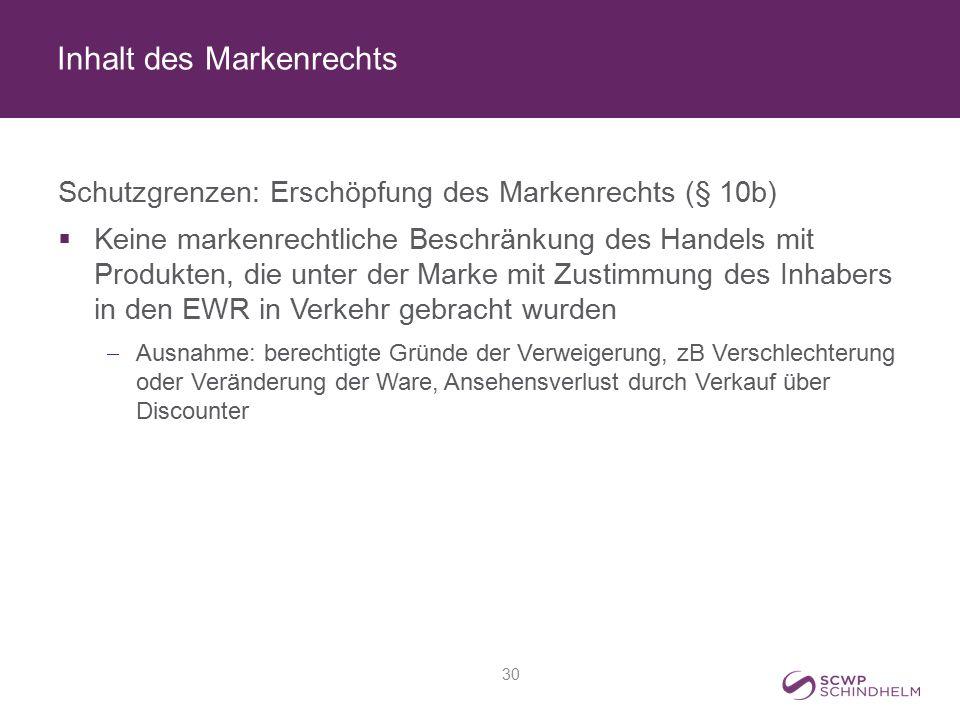 Inhalt des Markenrechts Schutzgrenzen: Erschöpfung des Markenrechts (§ 10b)  Keine markenrechtliche Beschränkung des Handels mit Produkten, die unter