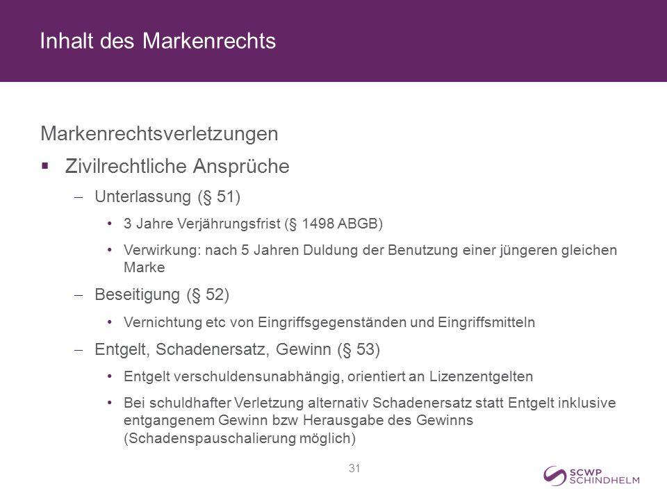 Inhalt des Markenrechts Markenrechtsverletzungen  Zivilrechtliche Ansprüche  Unterlassung (§ 51) 3 Jahre Verjährungsfrist (§ 1498 ABGB) Verwirkung: