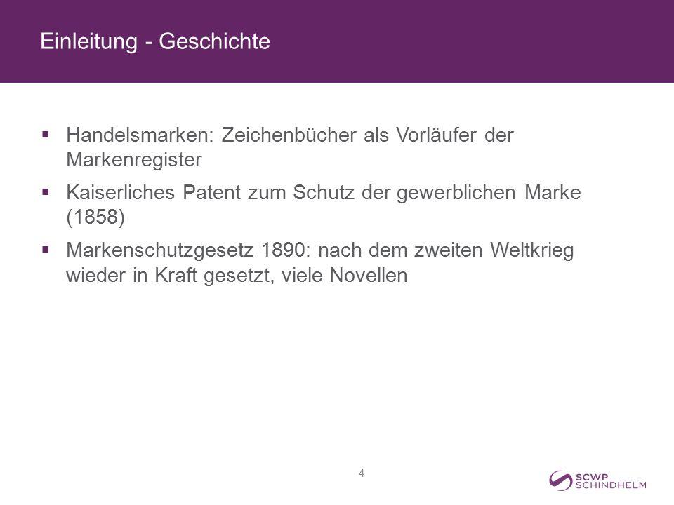 Einleitung - Geschichte  Handelsmarken: Zeichenbücher als Vorläufer der Markenregister  Kaiserliches Patent zum Schutz der gewerblichen Marke (1858)
