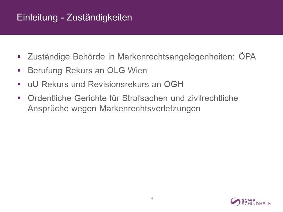 Einleitung - Zuständigkeiten  Zuständige Behörde in Markenrechtsangelegenheiten: ÖPA  Berufung Rekurs an OLG Wien  uU Rekurs und Revisionsrekurs an
