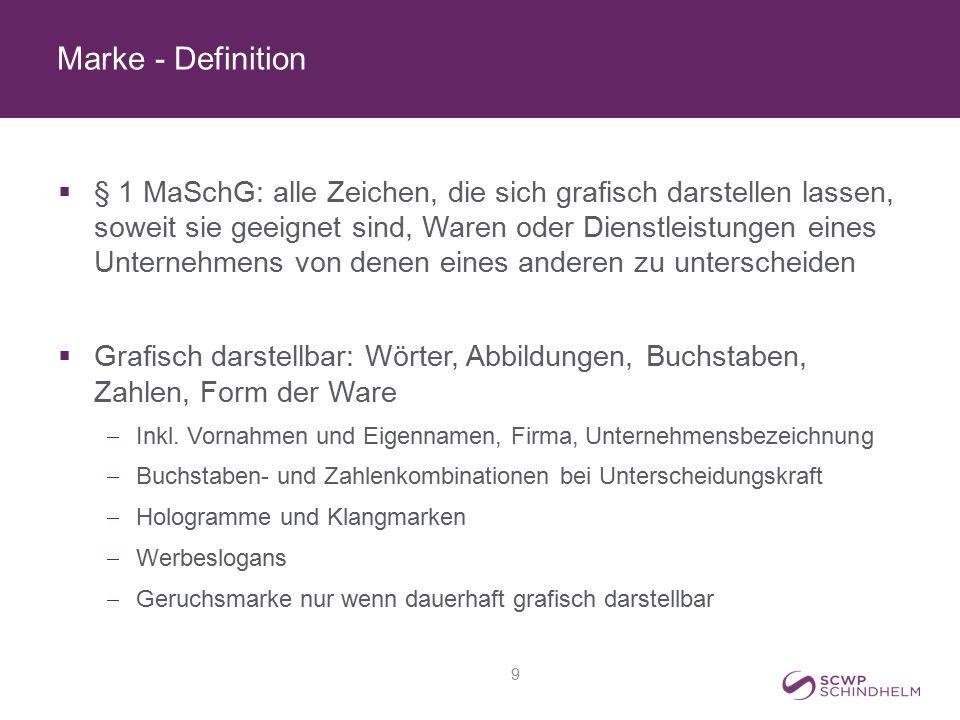 Marke - Definition  § 1 MaSchG: alle Zeichen, die sich grafisch darstellen lassen, soweit sie geeignet sind, Waren oder Dienstleistungen eines Untern
