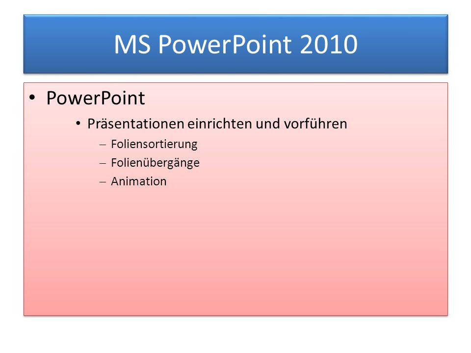 MS PowerPoint 2010 PowerPoint Präsentationen einrichten und vorführen  Foliensortierung  Folienübergänge  Animation PowerPoint Präsentationen einrichten und vorführen  Foliensortierung  Folienübergänge  Animation