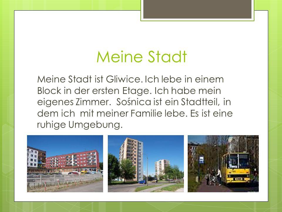 Meine Stadt Meine Stadt ist Gliwice. Ich lebe in einem Block in der ersten Etage.