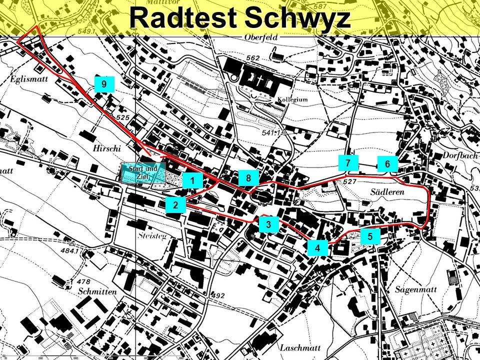 Radtest Schwyz / Posten 9b Linksabbiegen mit Einspurstrecke Blick zurück / Zeichengabe / Einspuren / Vortritt (Gegenverkehr) .
