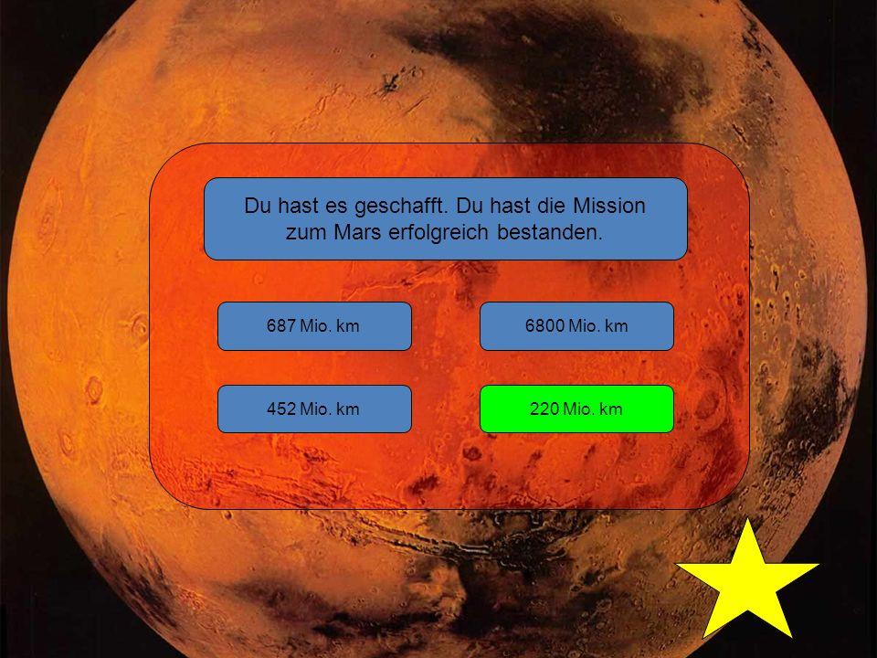 Du hast es geschafft. Du hast die Mission zum Mars erfolgreich bestanden.