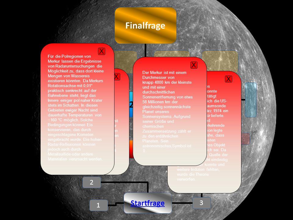 Finalfrage 2 4 1 Startfrage 3 1. Ebene 2. Ebene Der Merkur ist der sonnennächste Planet.