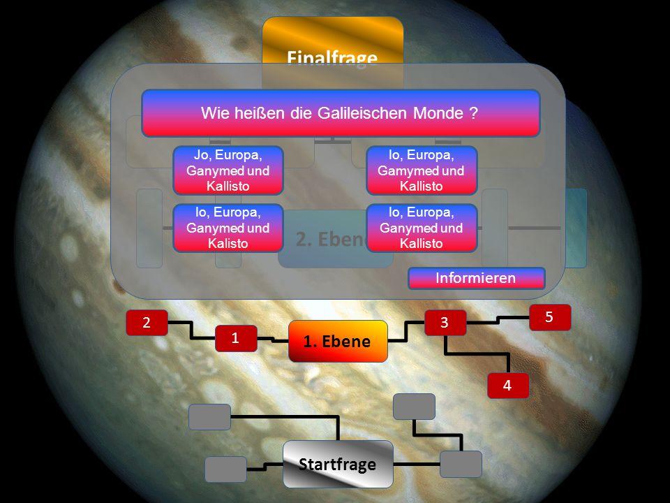 Finalfrage 2 1 3 Startfrage 5 4 1. Ebene 2. Ebene Wie heißen die Galileischen Monde .