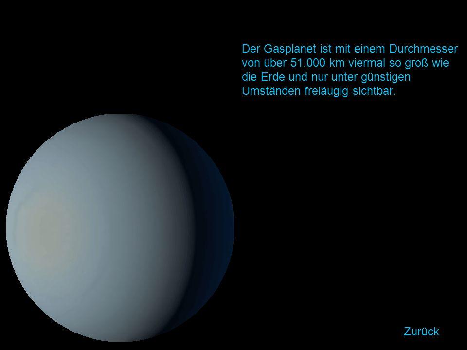 Der Gasplanet ist mit einem Durchmesser von über 51.000 km viermal so groß wie die Erde und nur unter günstigen Umständen freiäugig sichtbar.