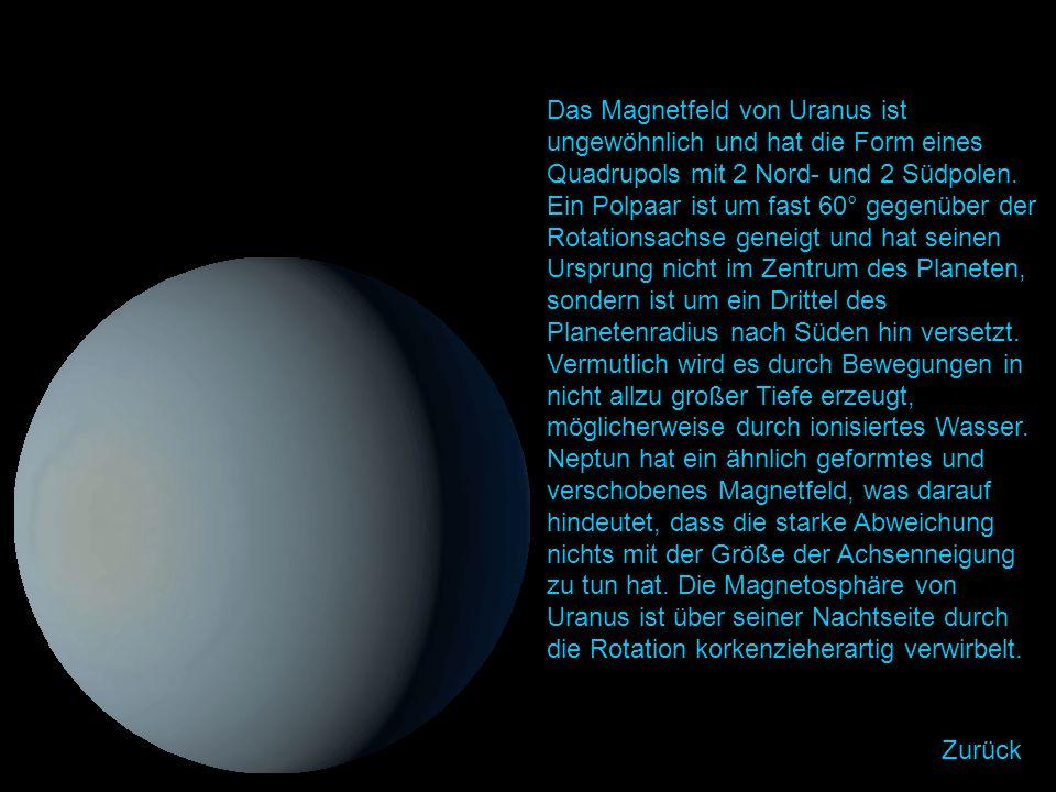 Das Magnetfeld von Uranus ist ungewöhnlich und hat die Form eines Quadrupols mit 2 Nord- und 2 Südpolen.