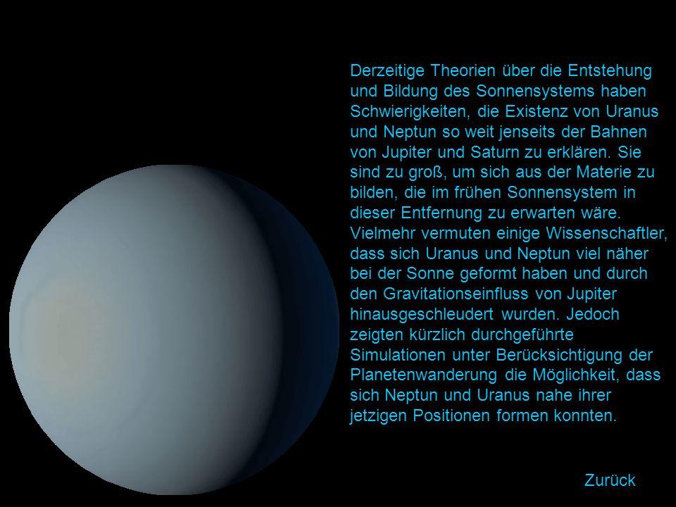 Derzeitige Theorien über die Entstehung und Bildung des Sonnensystems haben Schwierigkeiten, die Existenz von Uranus und Neptun so weit jenseits der Bahnen von Jupiter und Saturn zu erklären.