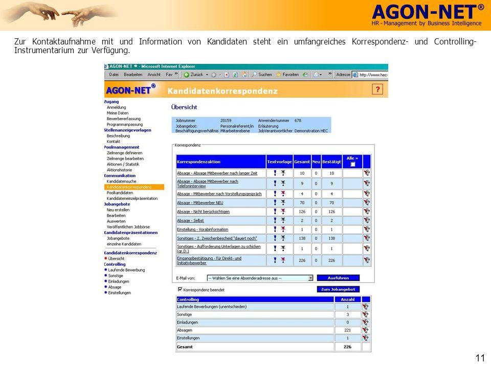 Zur Kontaktaufnahme mit und Information von Kandidaten steht ein umfangreiches Korrespondenz- und Controlling- Instrumentarium zur Verfügung. 11