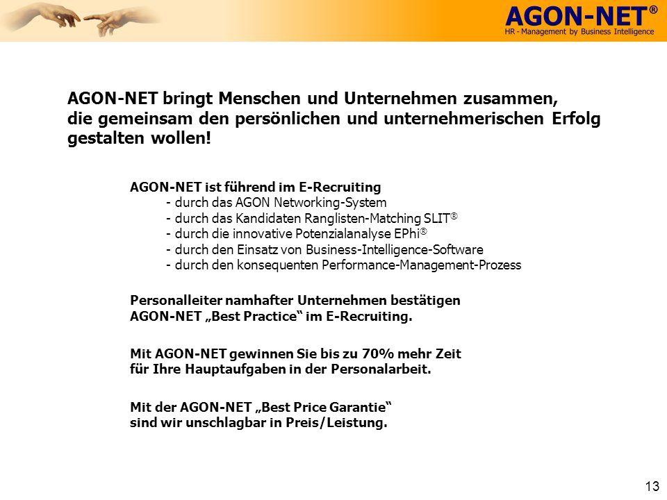 13 AGON-NET bringt Menschen und Unternehmen zusammen, die gemeinsam den persönlichen und unternehmerischen Erfolg gestalten wollen! AGON-NET ist führe