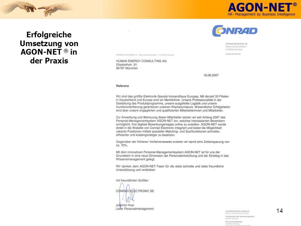 14 Erfolgreiche Umsetzung von AGON-NET ® in der Praxis