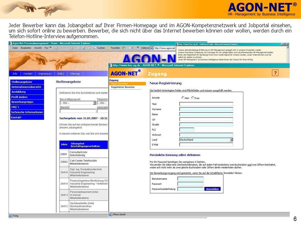 Jeder Bewerber kann das Jobangebot auf Ihrer Firmen-Homepage und im AGON-Kompetenznetzwerk und Jobportal einsehen, um sich sofort online zu bewerben.