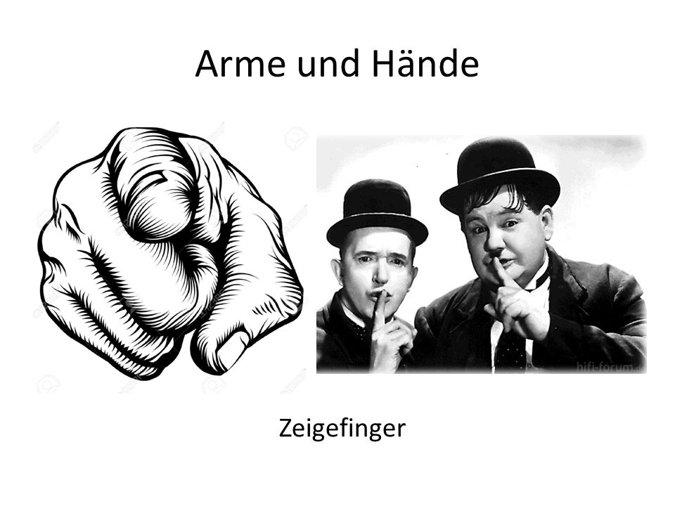 Arme und Hände Zeigefinger