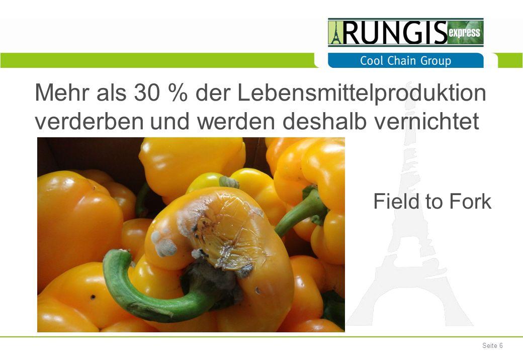 Seite 6 Mehr als 30 % der Lebensmittelproduktion verderben und werden deshalb vernichtet Field to Fork