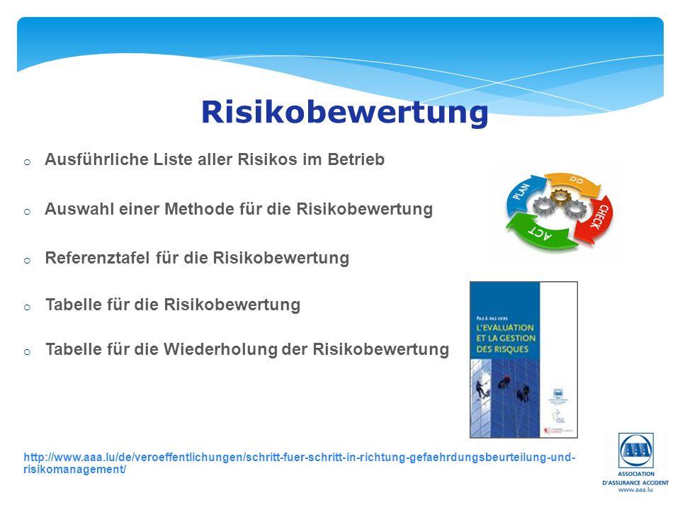 Risikobewertung o Ausführliche Liste aller Risikos im Betrieb o Auswahl einer Methode für die Risikobewertung o Referenztafel für die Risikobewertung o Tabelle für die Risikobewertung o Tabelle für die Wiederholung der Risikobewertung http://www.aaa.lu/de/veroeffentlichungen/schritt-fuer-schritt-in-richtung-gefaehrdungsbeurteilung-und- risikomanagement/