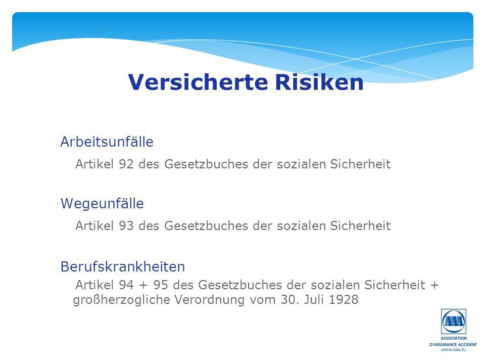 Seite: 9 Versicherte Risiken Arbeitsunfälle Artikel 92 des Gesetzbuches der sozialen Sicherheit Wegeunfälle Artikel 93 des Gesetzbuches der sozialen Sicherheit Berufskrankheiten Artikel 94 + 95 des Gesetzbuches der sozialen Sicherheit + großherzogliche Verordnung vom 30.