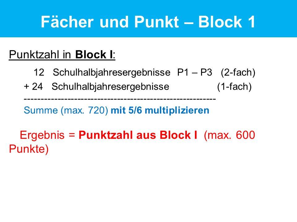Punktzahl in Block I: 12 Schulhalbjahresergebnisse P1 – P3 (2-fach) + 24 Schulhalbjahresergebnisse (1-fach) ---------------------------------------------------------- Summe (max.