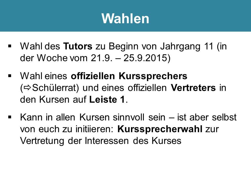  Wahl des Tutors zu Beginn von Jahrgang 11 (in der Woche vom 21.9.