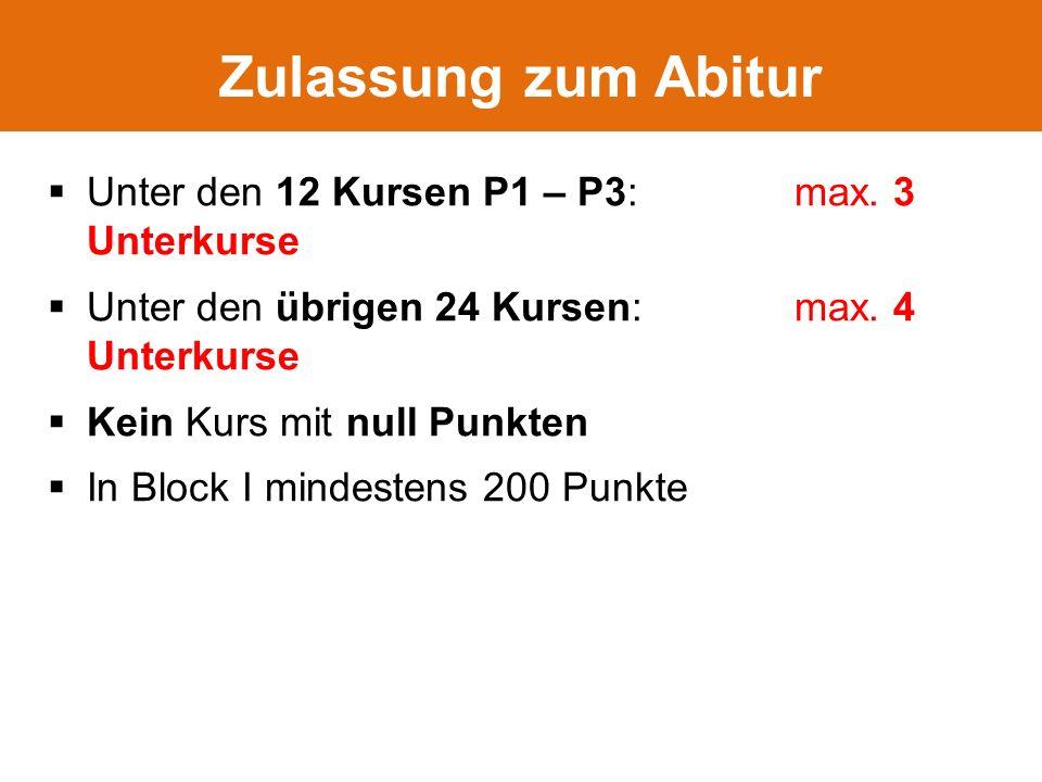  Unter den 12 Kursen P1 – P3: max. 3 Unterkurse  Unter den übrigen 24 Kursen: max.