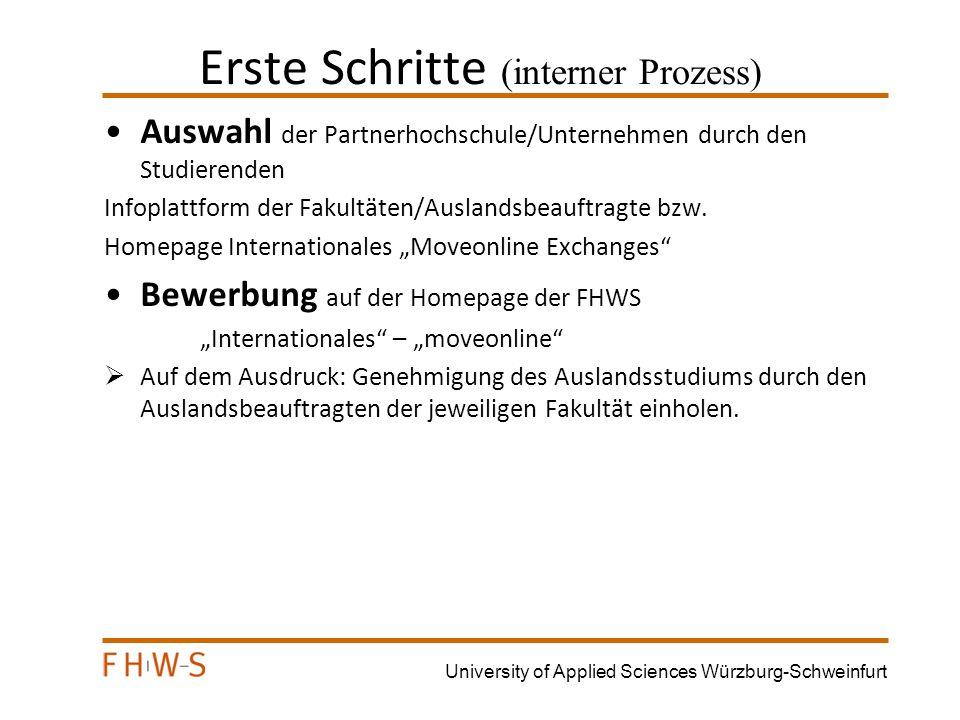 University of Applied Sciences Würzburg-Schweinfurt Auslandsbeauftragte der Fakultäten Maschinenbau : Studium Prof.