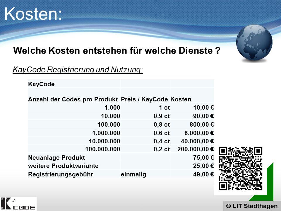 © LIT Stadthagen Kosten: KayCode Registrierung und Nutzung: Welche Kosten entstehen für welche Dienste ? KayCode Anzahl der Codes pro ProduktPreis / K
