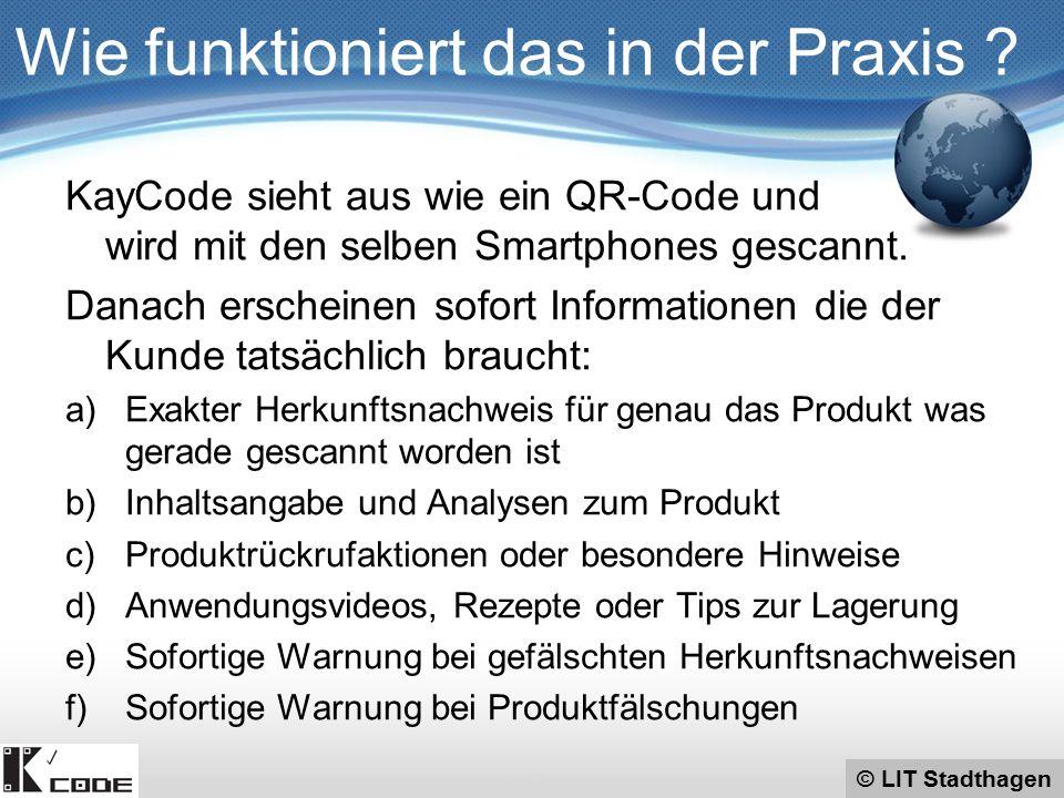 © LIT Stadthagen KayCode sieht aus wie ein QR-Code und wird mit den selben Smartphones gescannt. Danach erscheinen sofort Informationen die der Kunde