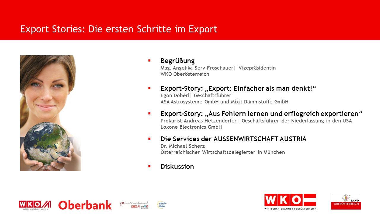 " Begrüßung Mag. Angelika Sery-Froschauer| Vizepräsidentin WKO Oberösterreich  Export-Story: ""Export: Einfacher als man denkt!"" Egon Döberl| Geschäft"