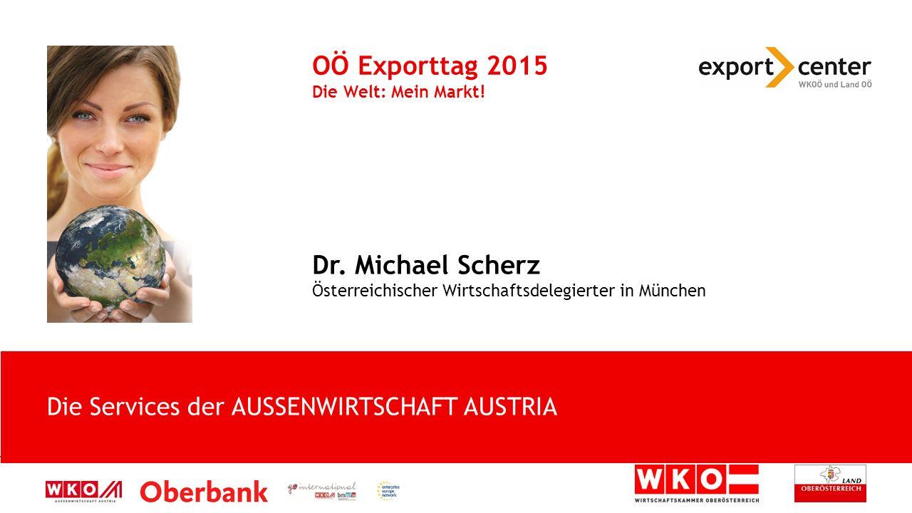 Die Services der AUSSENWIRTSCHAFT AUSTRIA OÖ Exporttag 2015 Die Welt: Mein Markt.