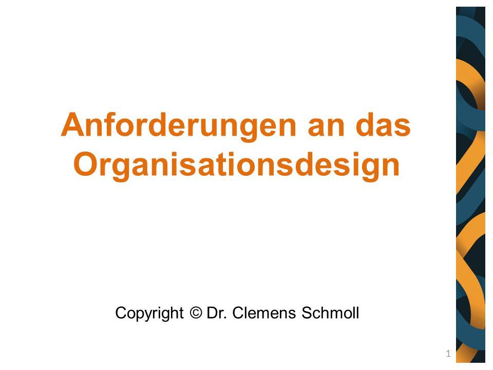 Anforderungen an das Organisationsdesign Copyright © Dr. Clemens Schmoll 1