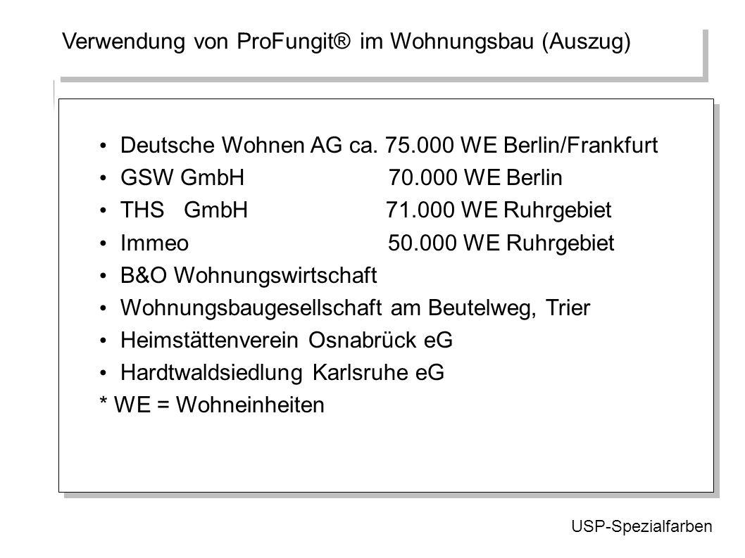 Verwendung von ProFungit® im Wohnungsbau (Auszug) USP-Spezialfarben Deutsche Wohnen AG ca. 75.000 WE Berlin/Frankfurt GSW GmbH 70.000 WE Berlin THS Gm