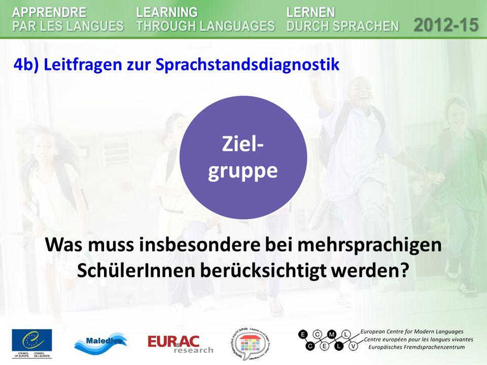 4b) Leitfragen zur Sprachstandsdiagnostik Was muss insbesondere bei mehrsprachigen SchülerInnen berücksichtigt werden