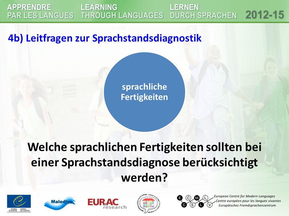 4b) Leitfragen zur Sprachstandsdiagnostik Welche sprachlichen Fertigkeiten sollten bei einer Sprachstandsdiagnose berücksichtigt werden