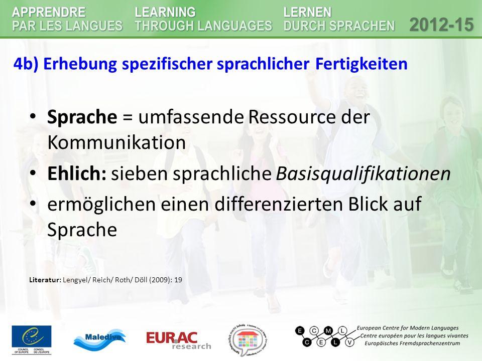 4b) Erhebung spezifischer sprachlicher Fertigkeiten Sprache = umfassende Ressource der Kommunikation Ehlich: sieben sprachliche Basisqualifikationen ermöglichen einen differenzierten Blick auf Sprache Literatur: Lengyel/ Reich/ Roth/ Döll (2009): 19