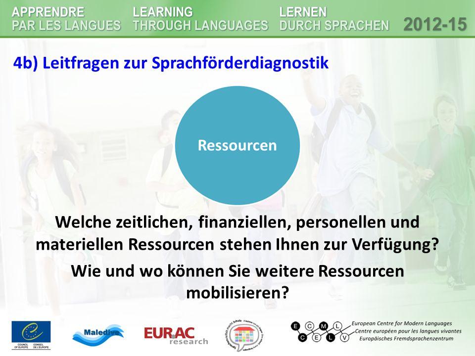 4b) Leitfragen zur Sprachförderdiagnostik Welche zeitlichen, finanziellen, personellen und materiellen Ressourcen stehen Ihnen zur Verfügung.