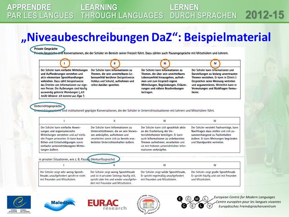 """""""Niveaubeschreibungen DaZ : Beispielmaterial"""