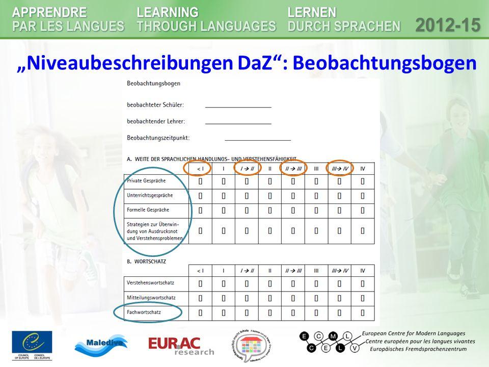 """Niveaubeschreibungen DaZ : Beobachtungsbogen"