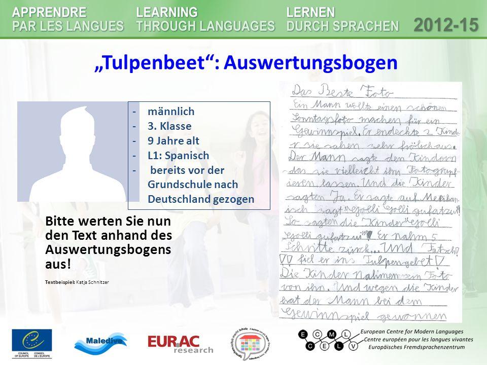 """""""Tulpenbeet : Auswertungsbogen Bitte werten Sie nun den Text anhand des Auswertungsbogens aus."""